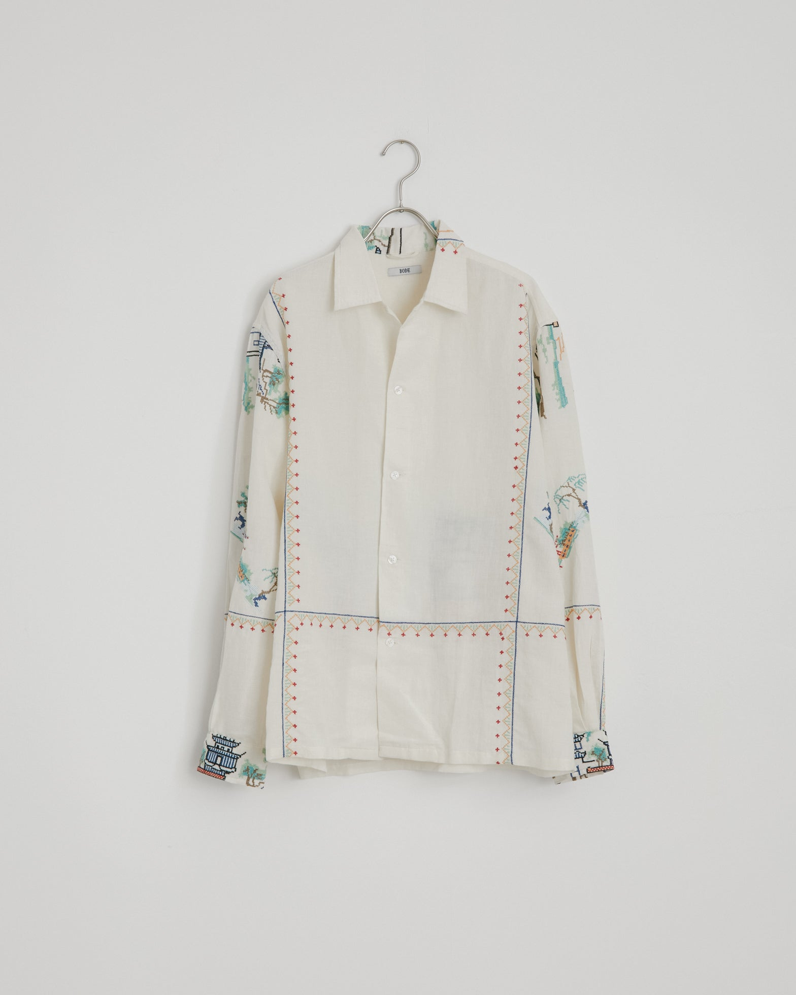 Linen Embroidered Tableau Shirt in White