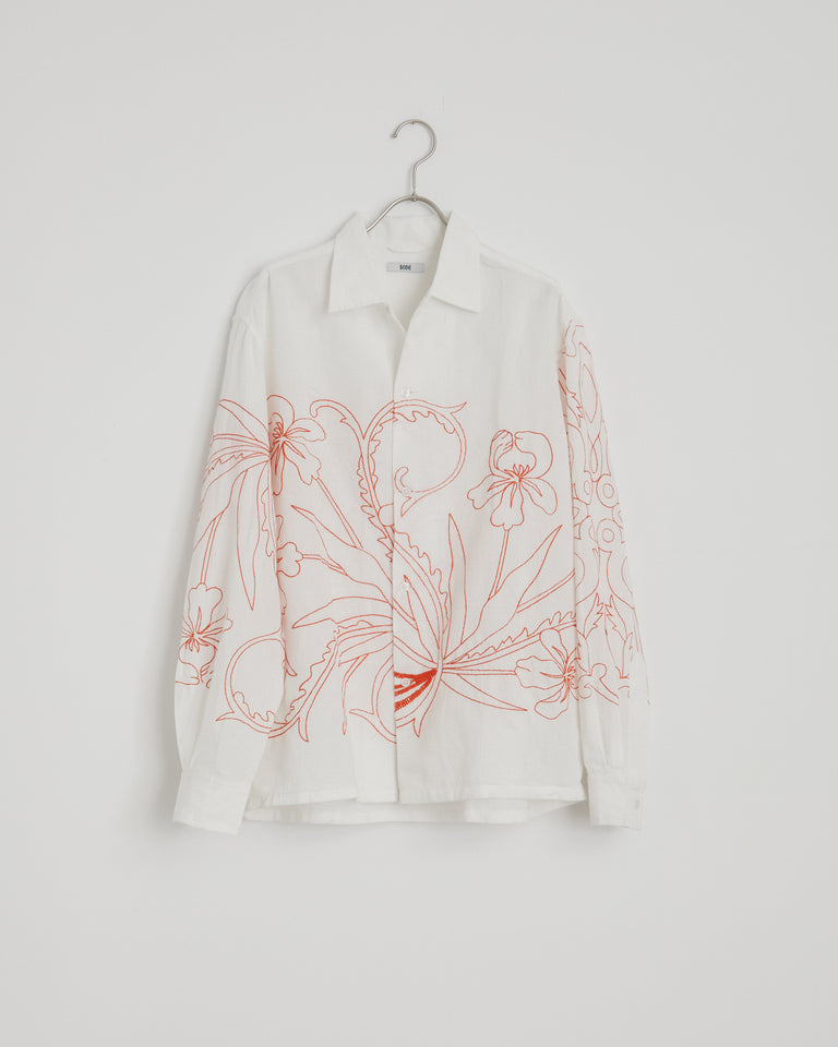 Floral Redwork Shirt in White/Red