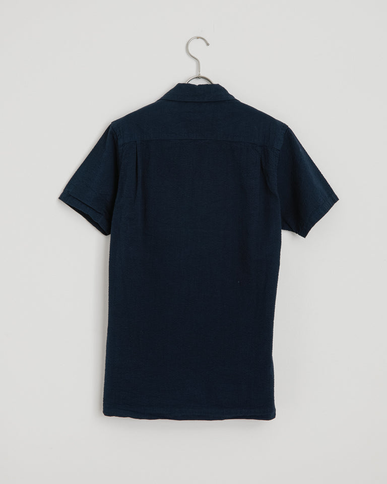 Seersucker Camp Shirt in Navy