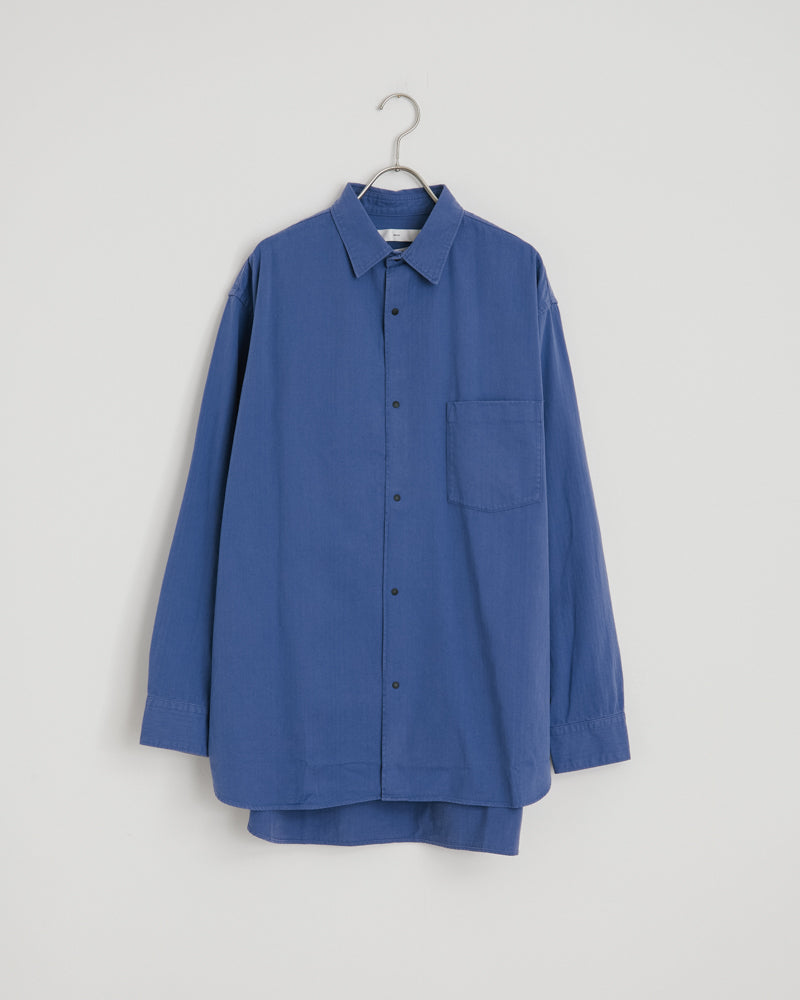 Wide Body Herringbone Shirt in Indigo