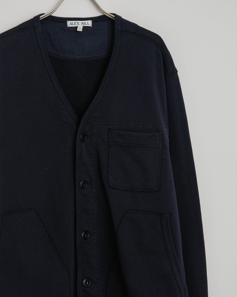 French Terry Cardigan in Dark Navy