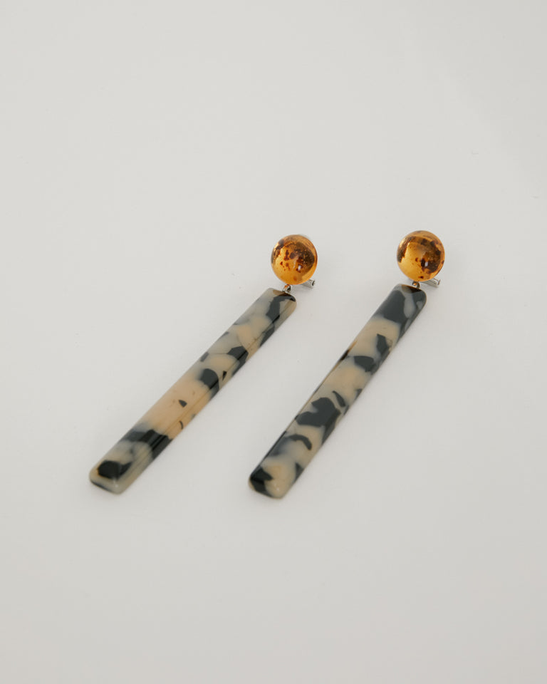 Mission Earring in Brown Resin-Dalmatian