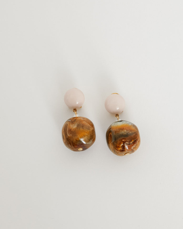 Juniper Earrings in Baby Pink Brown