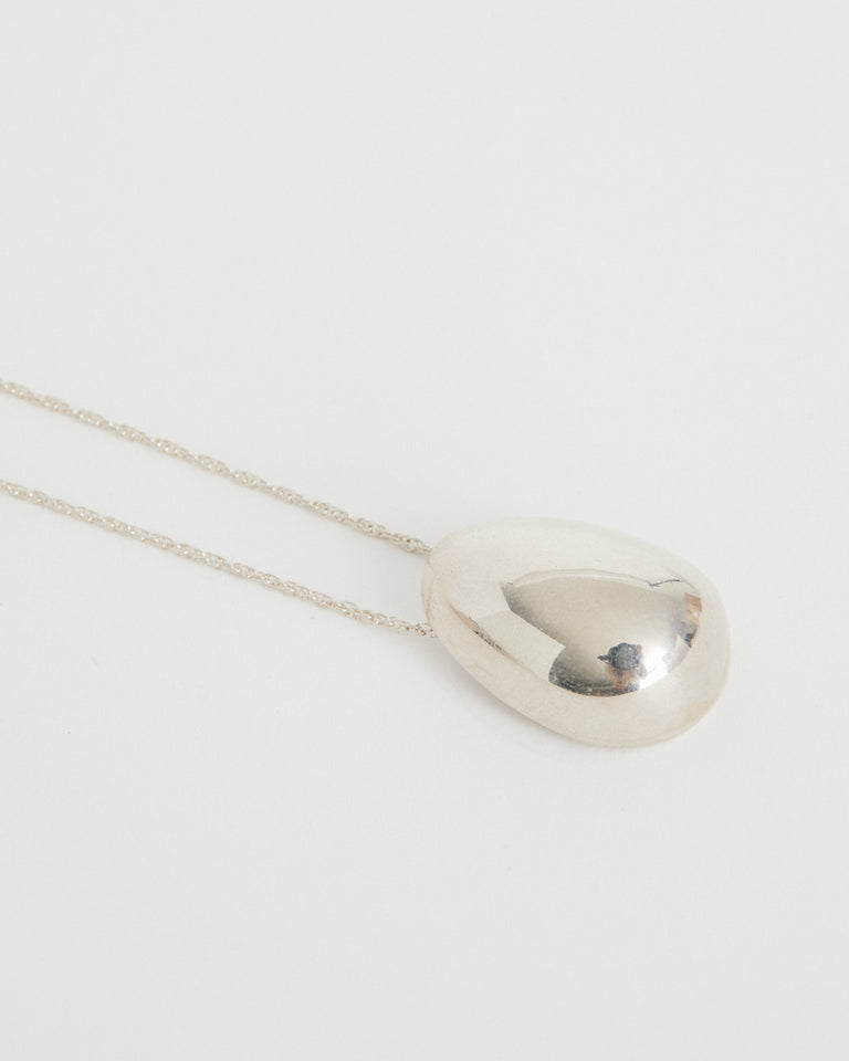 Everyday Egg Pendant in Sterling Silver 22""