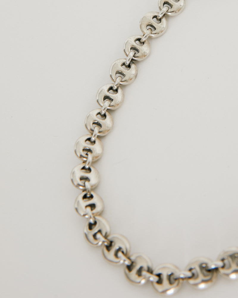 Small Circle Link Anklet in Sterling Silver