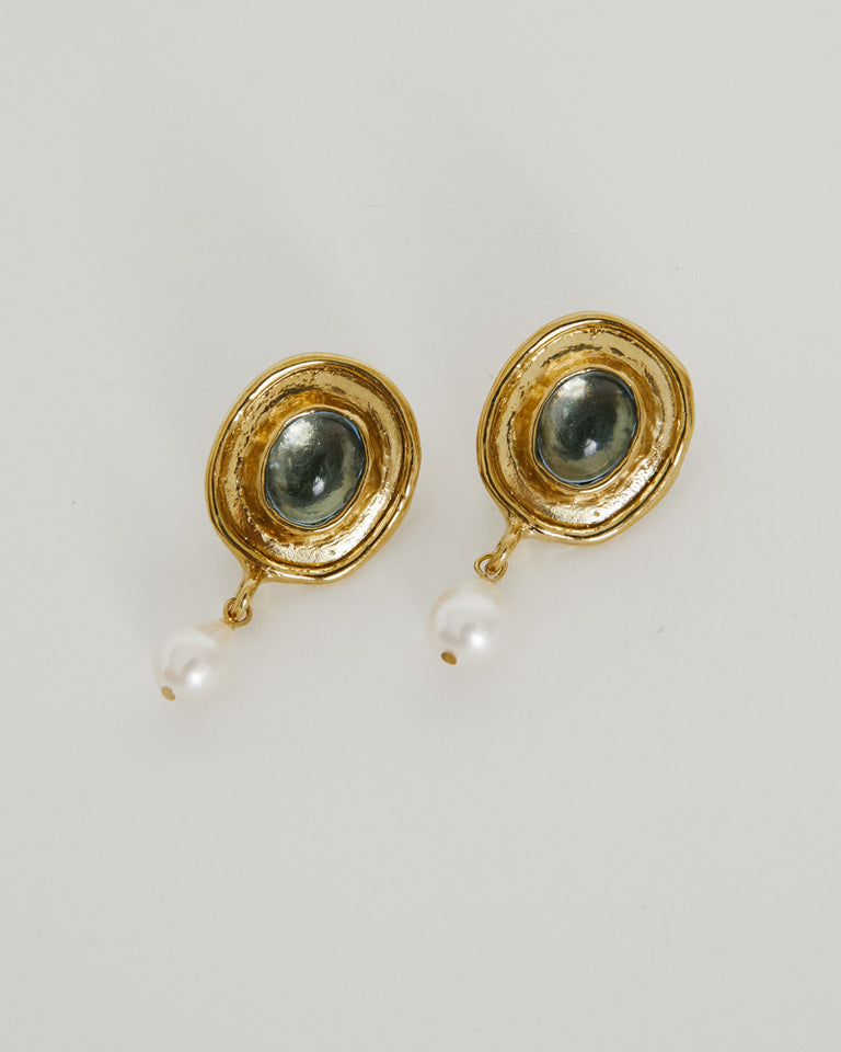 Viva Earrings Brass in Ice Blue