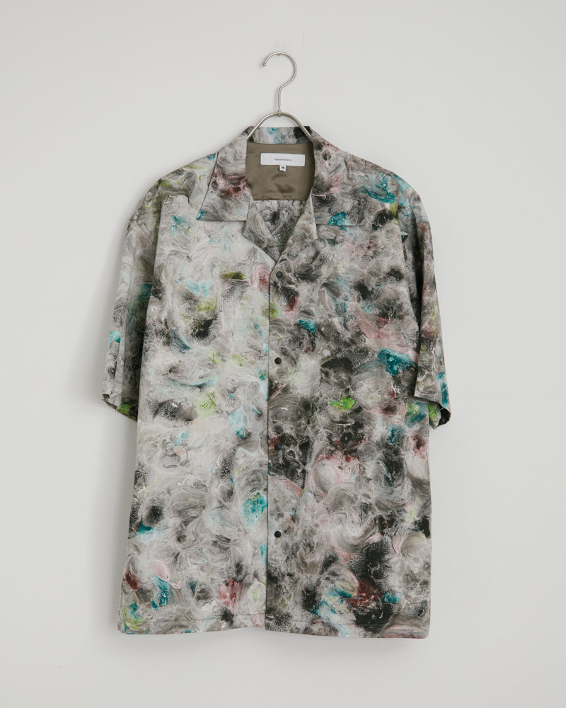 Open Collar H/S Shirt in Gray Pattern