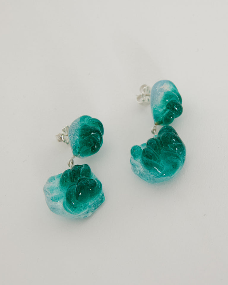 Glass Rope Earrings in Emerald/Opal