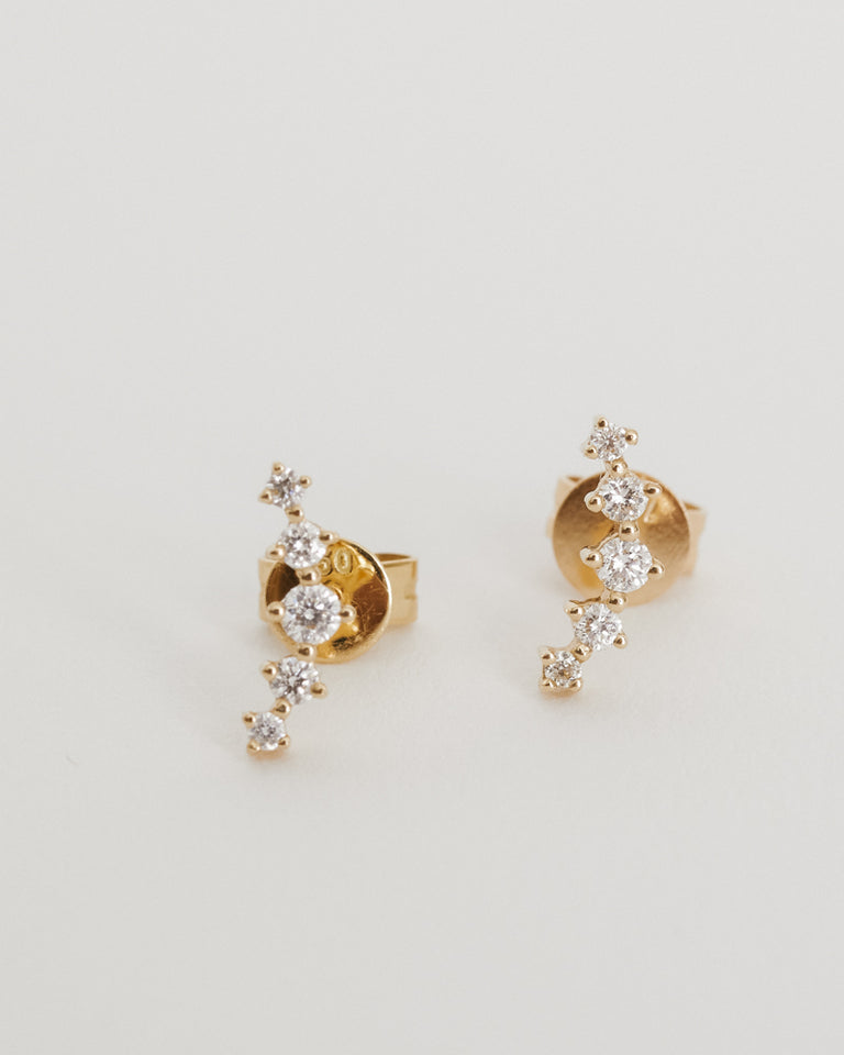 Small Geometric Diamond Earrings 14K