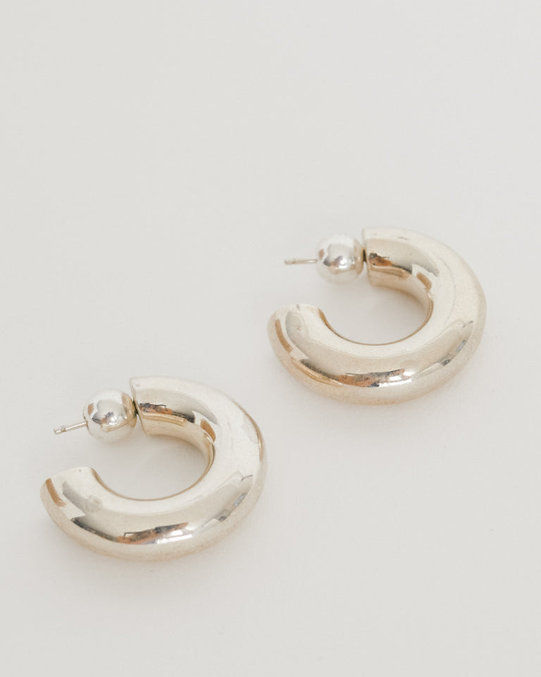 Small Donut Hoops in Sterling Silver