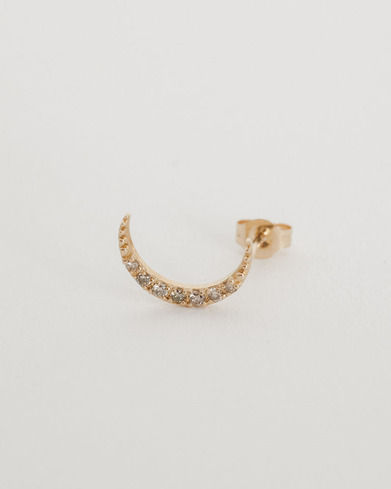 Crescent Moon Stud 14k