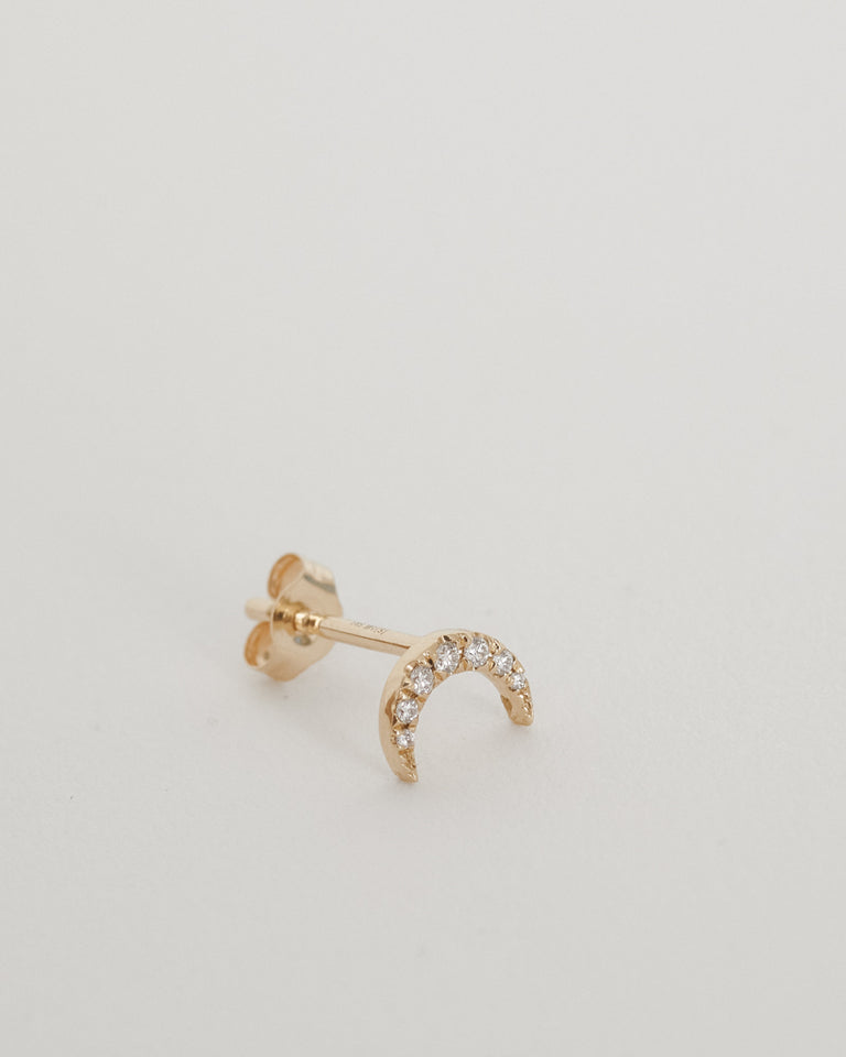 Tiny Crescent Moon Stud 14k