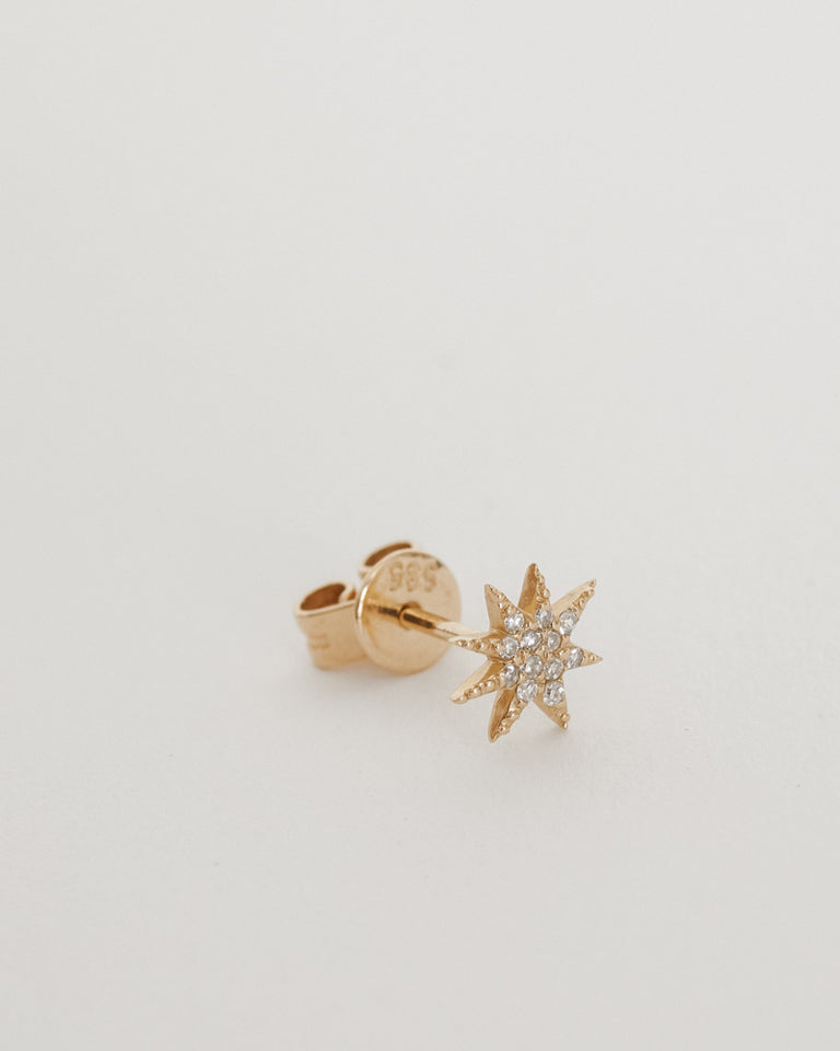 Pave Single Star Earrings 14K YG (Single)