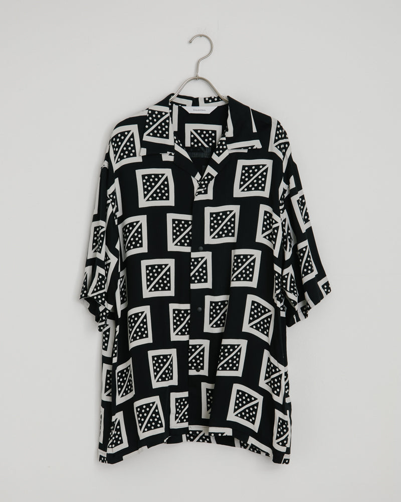 Masu Masu Open Collar Shirt in Black