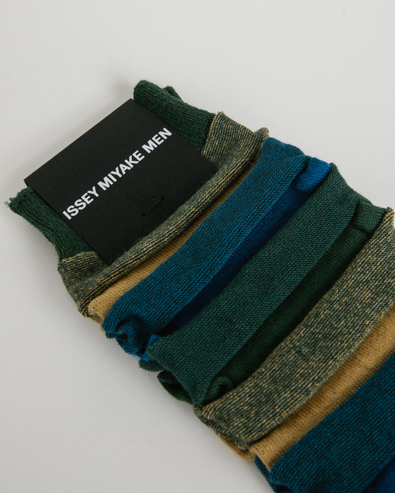 Stepborder Socks in Green/Blue