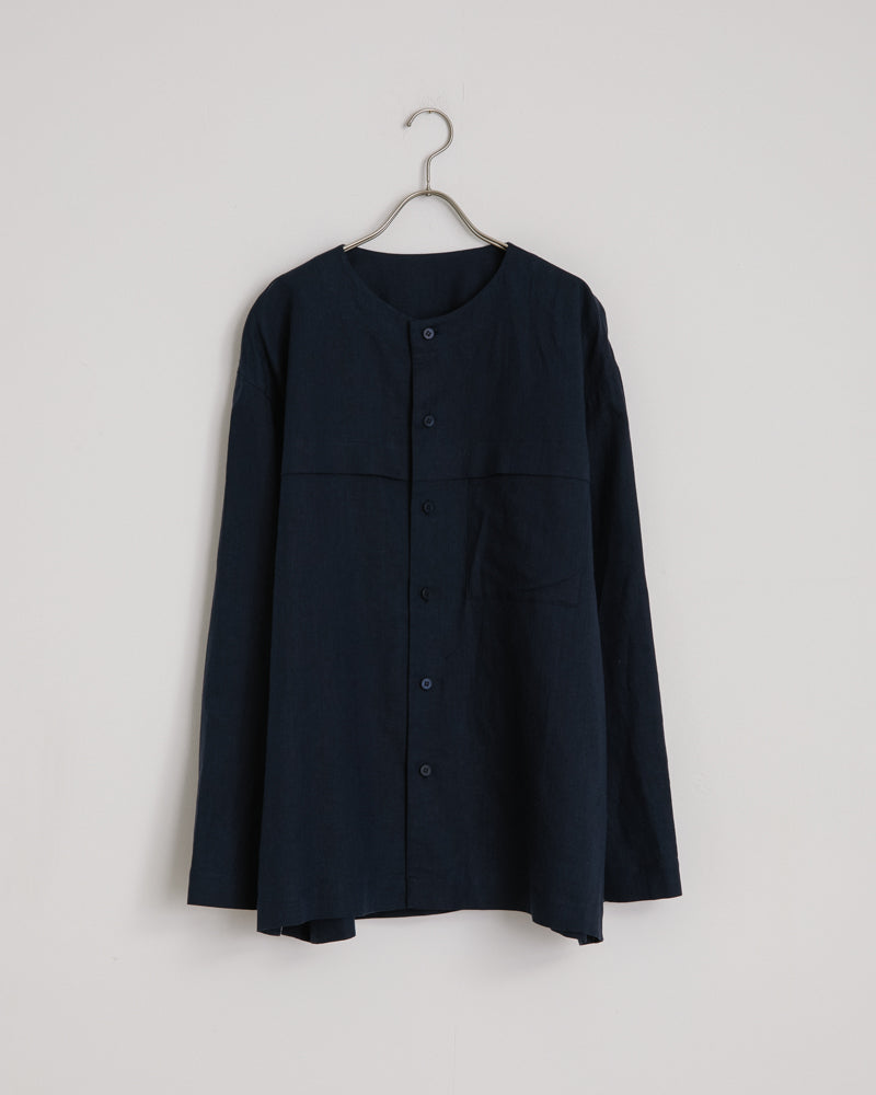 Cotton Linen Shirt in Navy