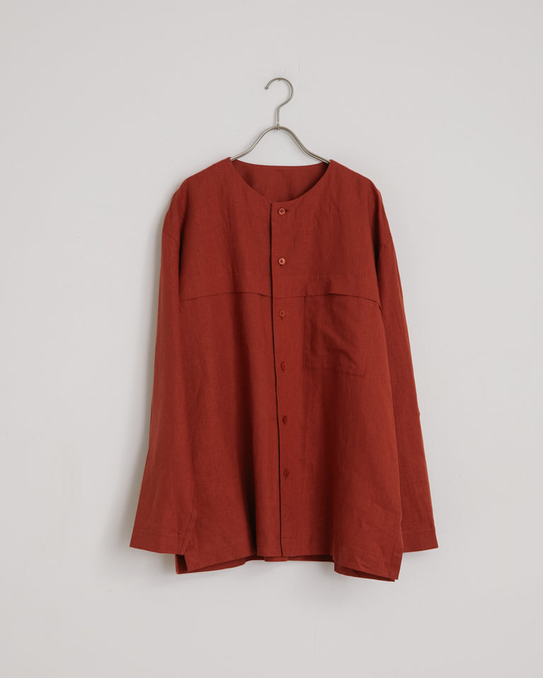 Cotton Linen Shirt in Rust
