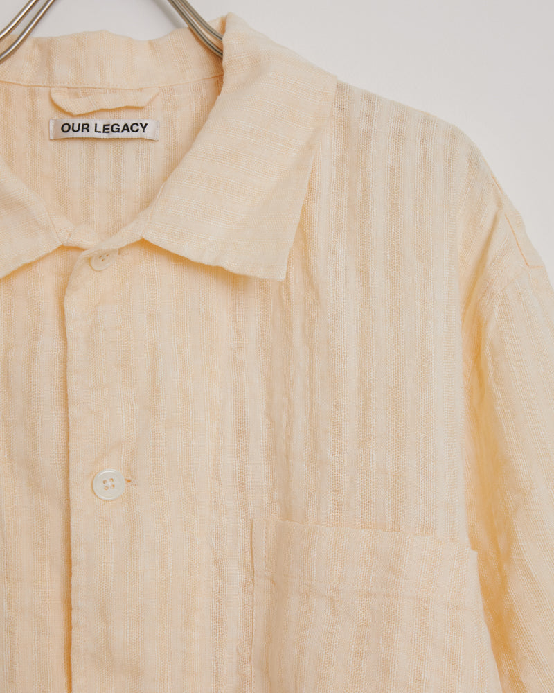 Box Shirt in Yellow Linen Stripe