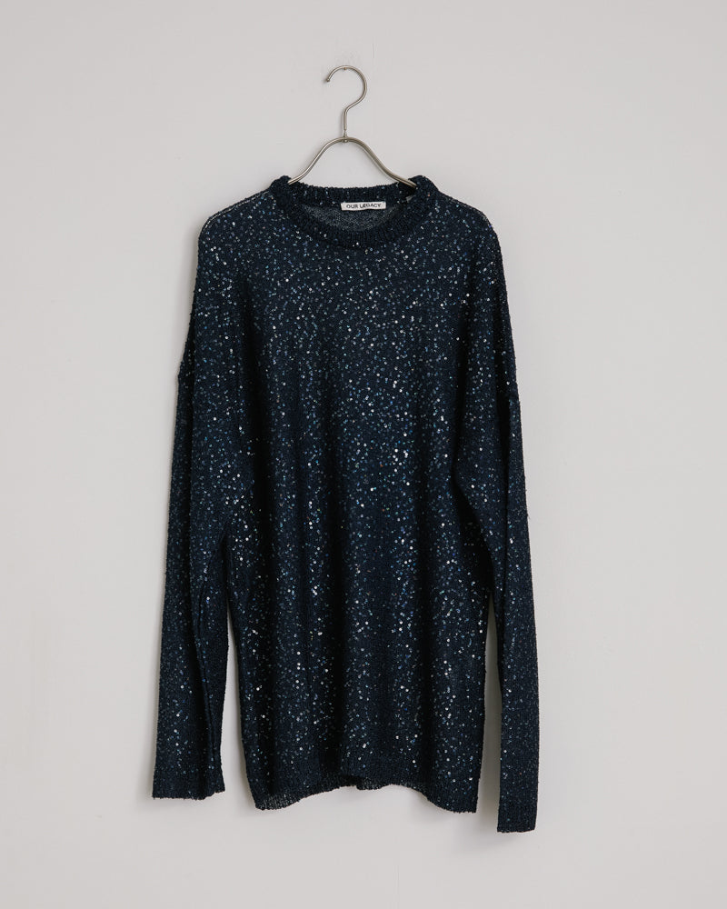 Popover Roundneck Sequin Sweater in Navy