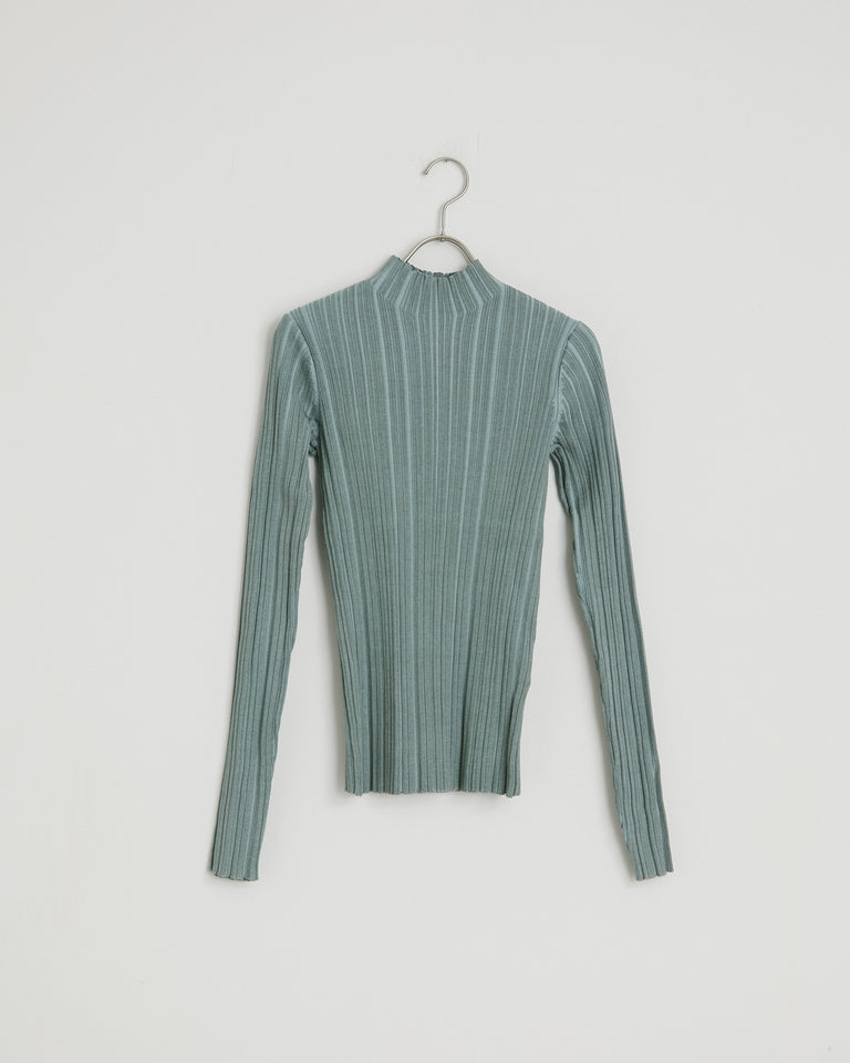 Katina Irregular Rib Top in Dusty Green