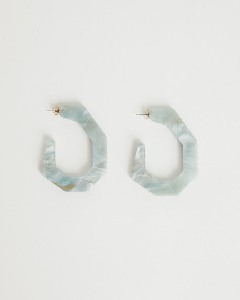 Factor Earring in Ocean Marble