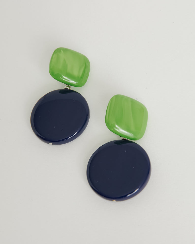 Arc Earring in Lime-Blue