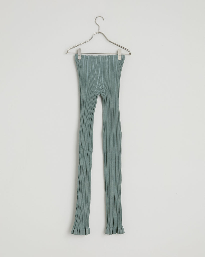 Face Irregular Rib Trouser in Dusty Green