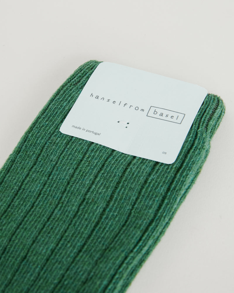 Cashmere Cozy Rib Crew in Kermit Green