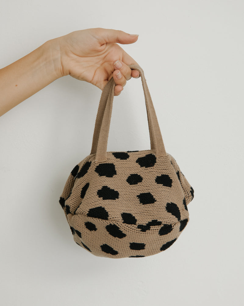 Spotted Mini Pita Bag in Beige