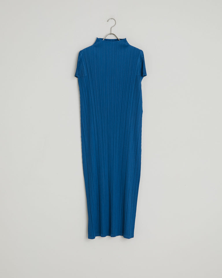 JH166 Neck Dress in Blue