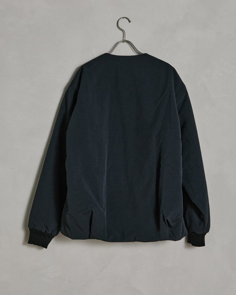 Padded No Collar Blouson in Black