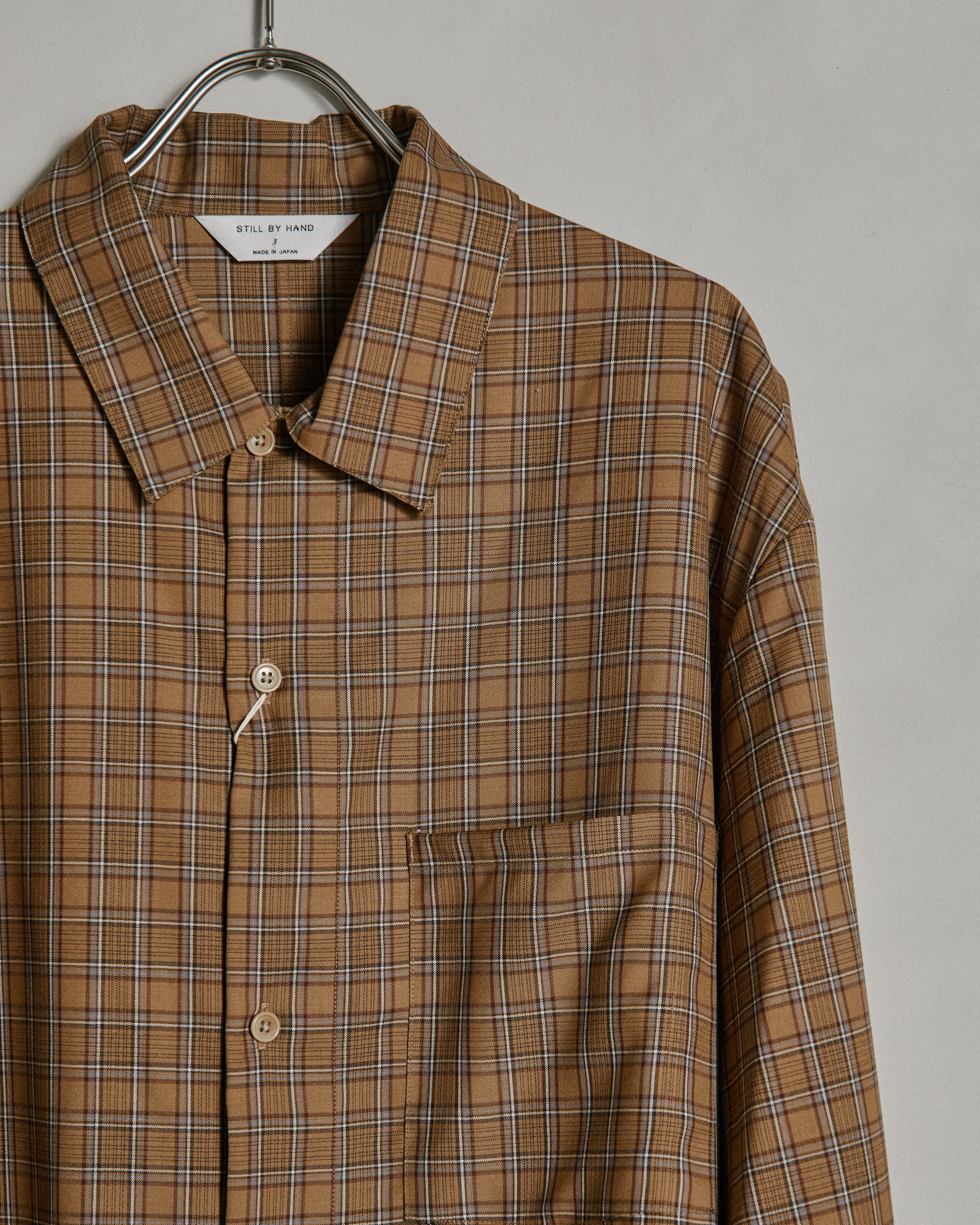 Washable Wool Shirt in Brown Check
