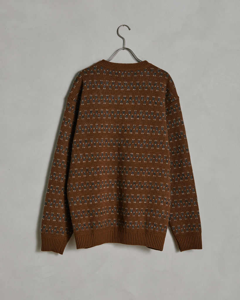 Mixed Wool Pattern Knit in Maroon