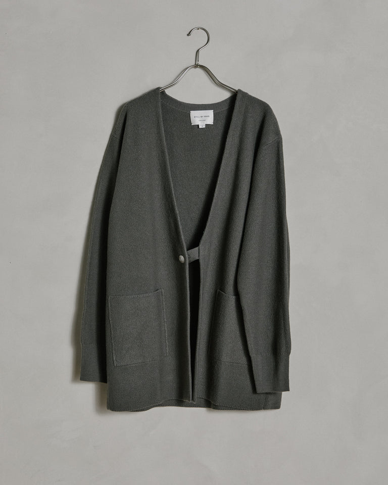 Long Knit Cardigan in Grey