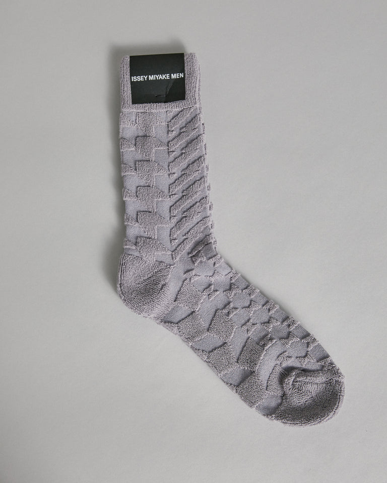 Geometric Pile Socks in Grey