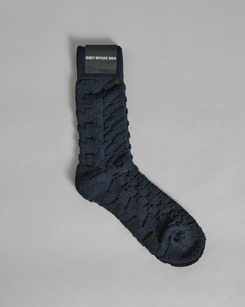 Geometric Pile Socks in Navy