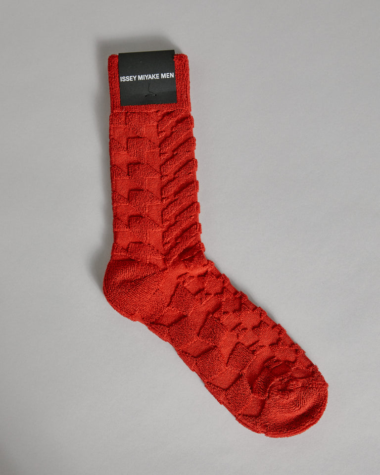 Geometric Pile Socks in Red