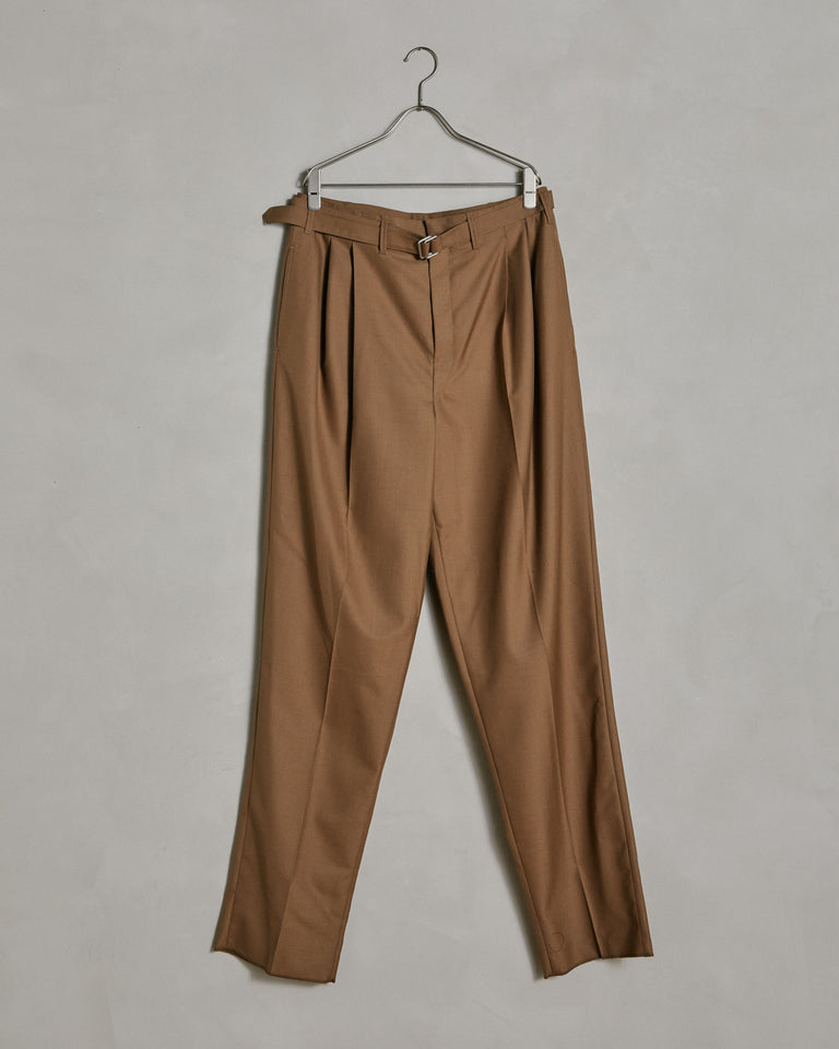 Belted Pleat Pants in Brown