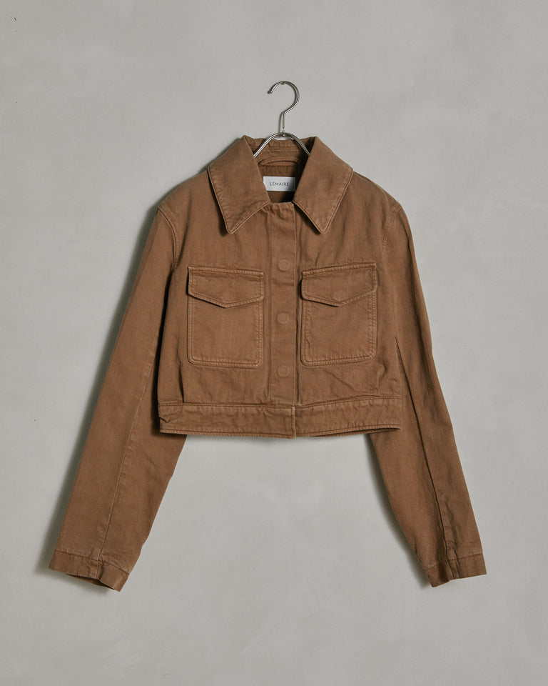 Denim Short Blouson in Beige