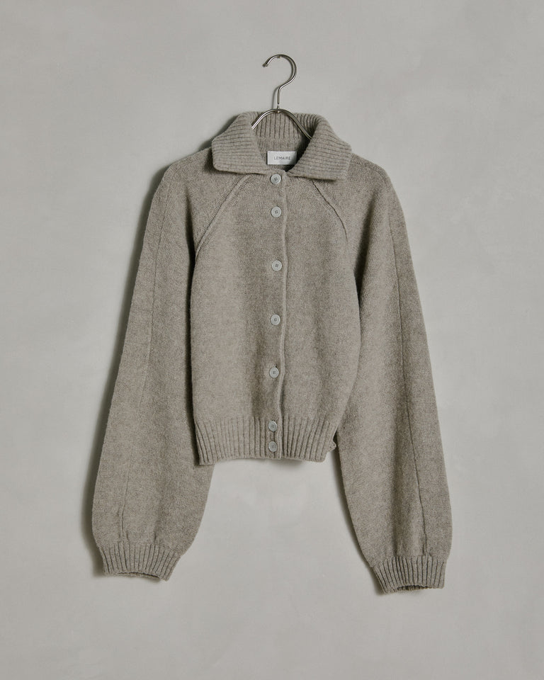 High Collar Cardigan in Wisp Grey