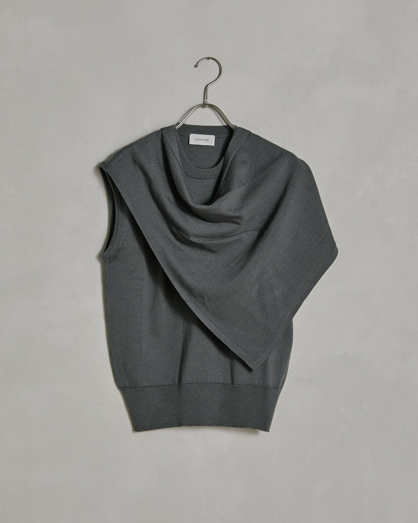 Scarf Collar Top in Anthracite
