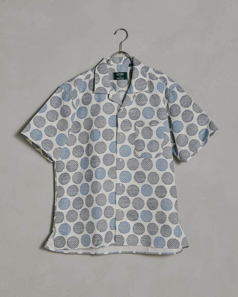 Dotto Camp Shirt in Navy Dot
