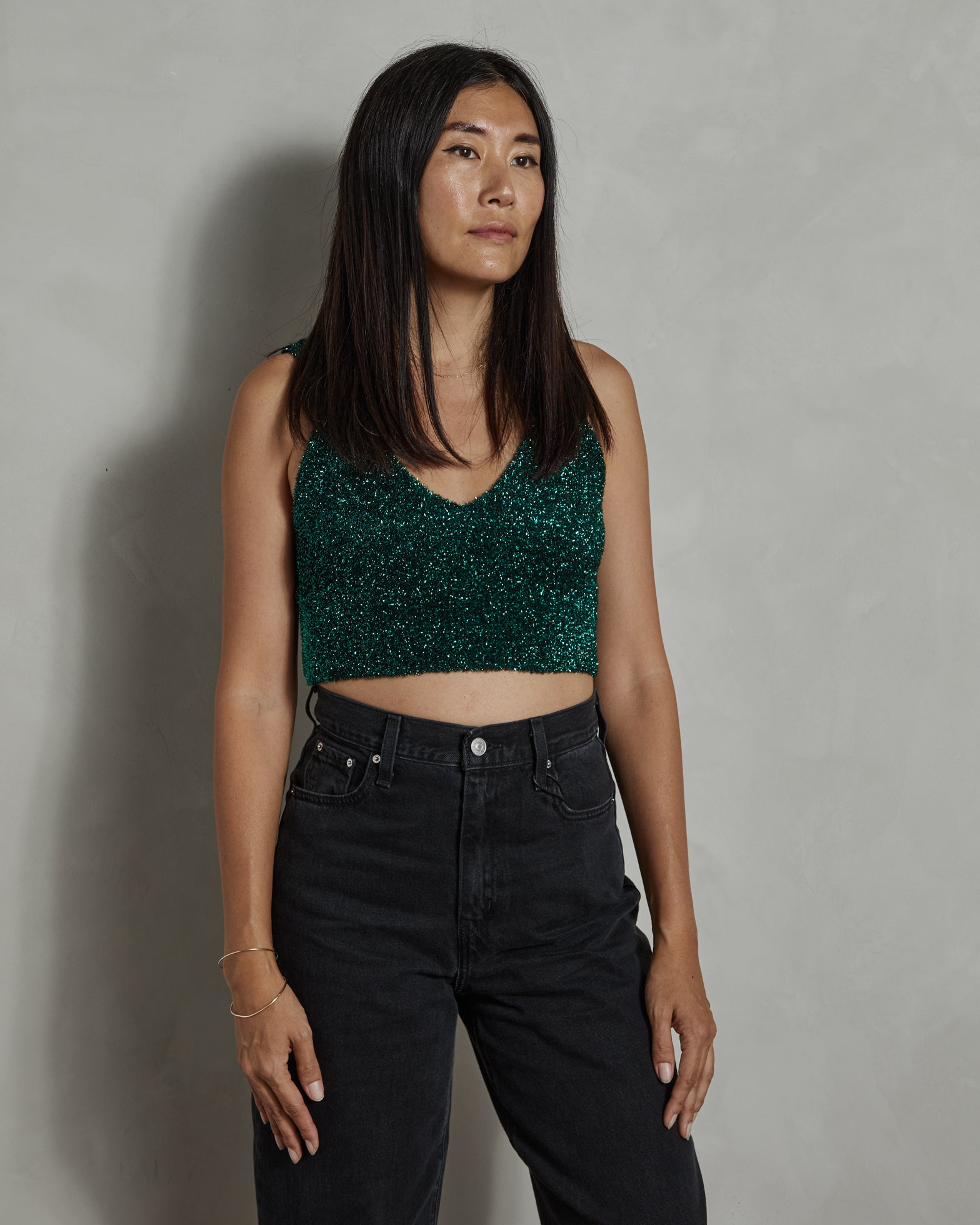 S17455 Cami in Green Lurex