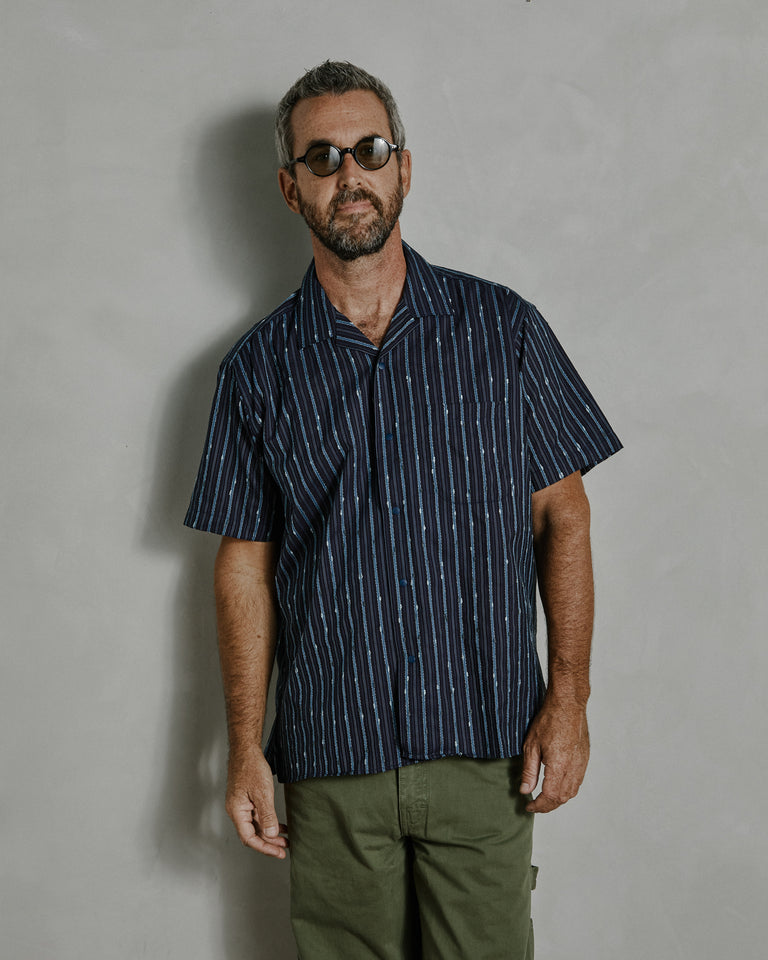 Slub Stripe Camp Shirt in Navy