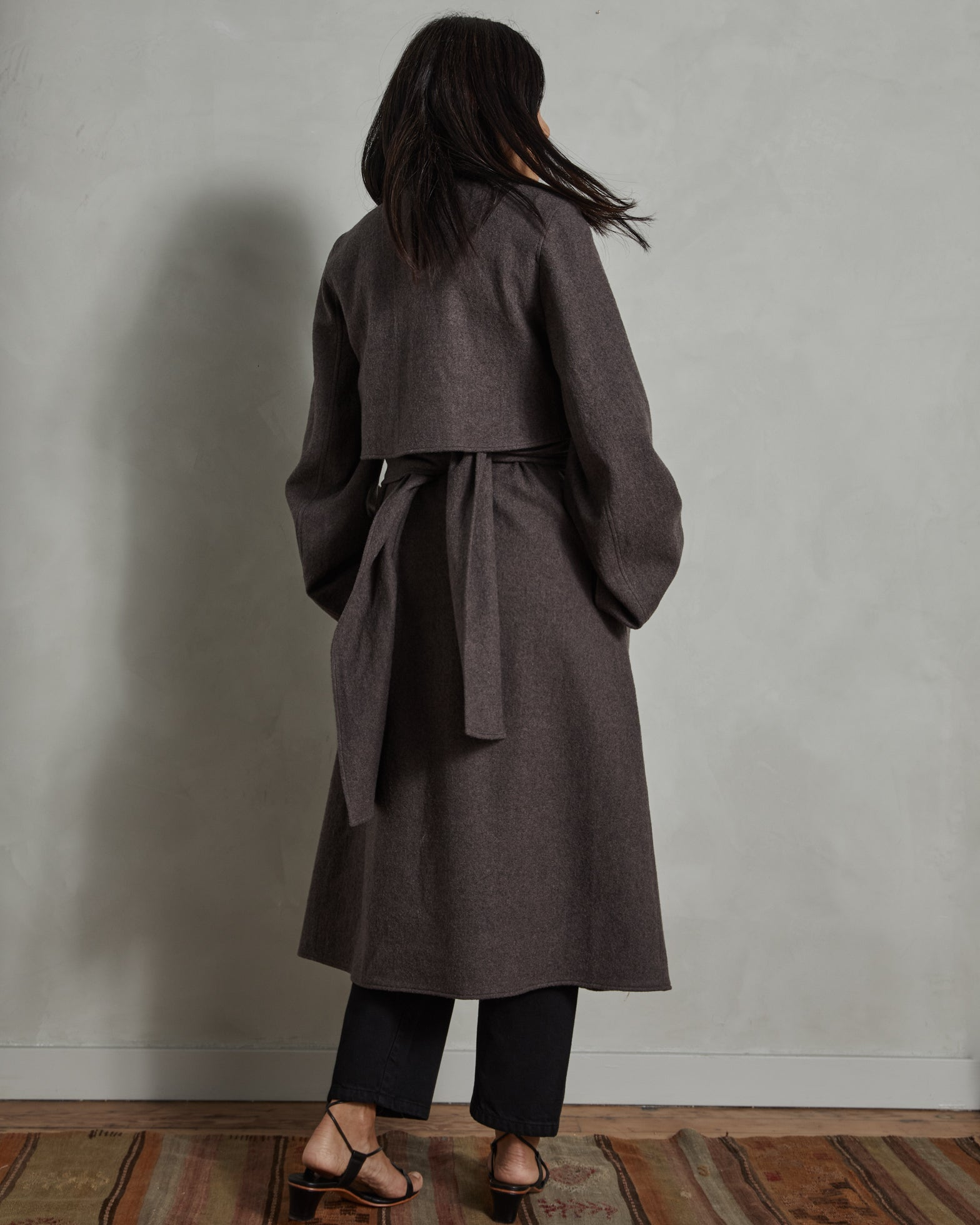 Knotted Coat in Deep Taupe