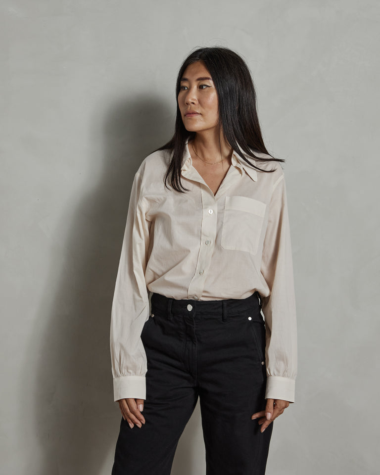 Pointed Collar Shirt in Ivory