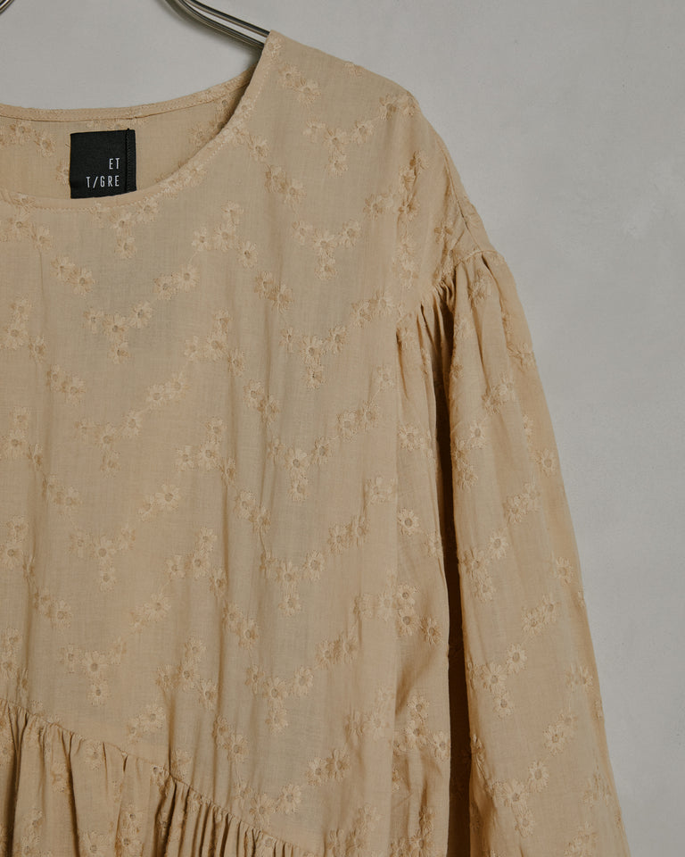 Jayme Dress in Tan Embroidered Eyelet