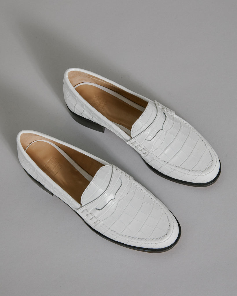Suffolk Loafer in White Croc