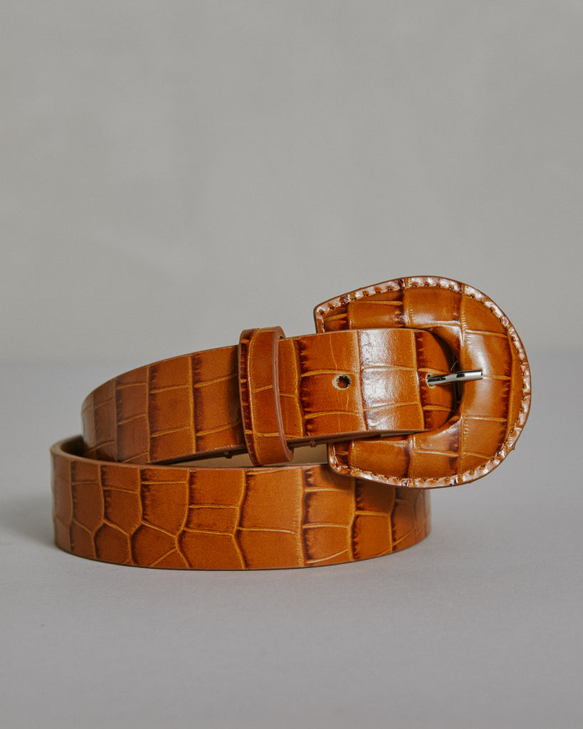 Bruno Belt in Chestnut Croc