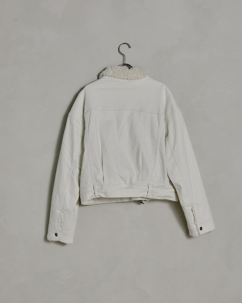 Sherpa Lined Trucker Jacket in Cream